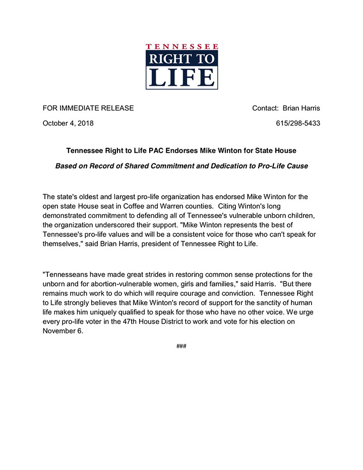 TN Right to Life Endorsement